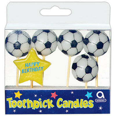 6 Football Soccer Sports Happy Birthday Children's Party Snack Pick Cake Candles