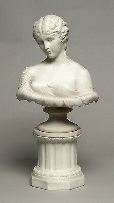 Dramatic Antique John Bevington Parian Porcelain Bust Figure Of Clytie