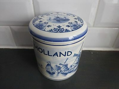 delft blue hand painted made in holland container with lid