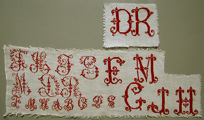 19Th C Cross Stitch Needlework Samplers French Red Alphabet Letters