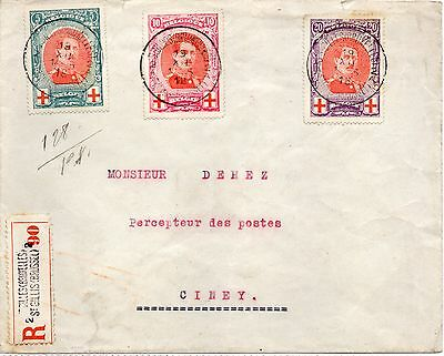 """1915 red cross set on registered cover to"""" CINEY from BRUXELLES"""""""