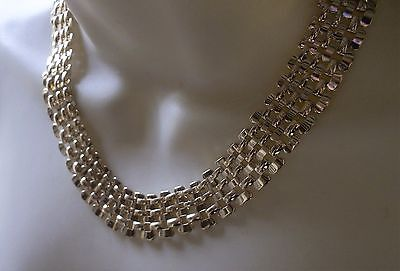 Vintage 80S Gold Tone Necklace Choker Collar