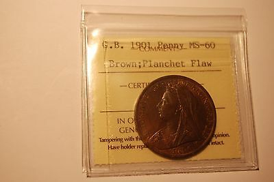 Great Britain 1901 Penny ICCS MS60 PLANCHET FLAW ERROR