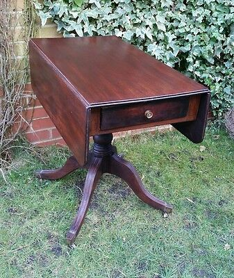 Early Georgian Mahogany Pembroke Hall Table  with Long Drawer & Central Column