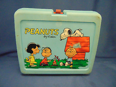 Vintage Peanuts Lunch Box Snoopy & Woodstock blue thermos turquoise plastic