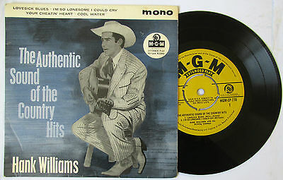 "Hank Williams Authentic Sound of The Country Hits UK 7"" EP"