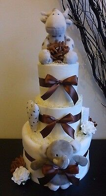 Gorgeous 3 Tier 'Elli and Raff' Unisex Nappy Cake, Baby Gift