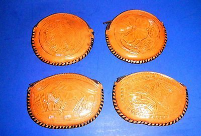 """Lot of Four Unused Leather Coin Purses Having Different Scenes and Mk'd """"Mexico"""""""