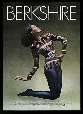 1973 Berkshire blue pantyhose pretty woman photo vintage print ad