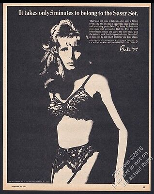 1967 Bali lingerie black lace bandeau garter belt woman photo vintage print ad