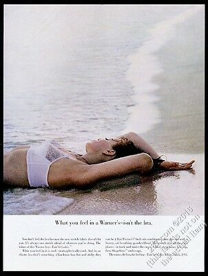 1963 Warner's lingerie woman in white bra on beach color photo vintage print ad
