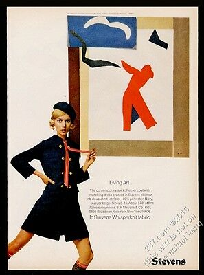 1968 Henri Matisse art Stevens women's fashion mod blue dress vintage print ad