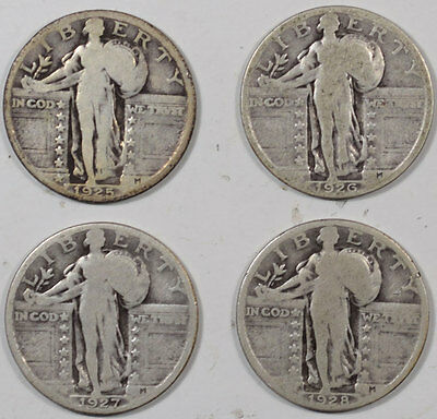1925-1928 Standing Liberty Quarter - Lot Of 4, Pleasing Circulated Example!