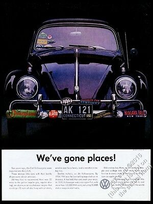 1960 VW Volkswagen Beetle black car color photo vintage print ad