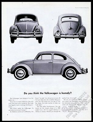 1960 VW Volkswagen Beetle classic car 3 photo vintage print ad