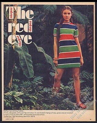 1968 The Red Eye mod striped dress fashion beautiful woman photo vintage ad