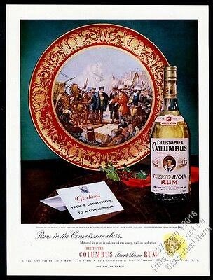 1952 Christopher Columbus Puerto Rican Rum bottle photo vintage print ad