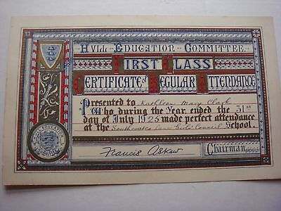 Attendance certificate for Southcoates Lane Girls Council School, Hull 1925