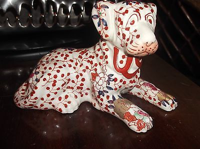 Unusual Glazed Floral Handpainted China St Bernard Dog Figurine Lying Down