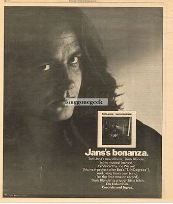 1976 Tom Jans Dark Blonde Vtg Album Promo Print Ad