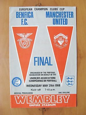 1968 European Cup Final BENFICA v MANCHESTER UNITED Exc Cond ORIGINAL Programme