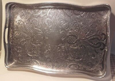 A Vintage English Silver Plated Gallery Tray / Downton Abbey Style Claw & Ball