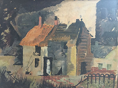 Abstract Oil Painting 1950's  'Ruins' Signed by Artist (verso)