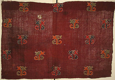 Charming Antique Early 20th C. Turkish Wool Hand Embroidery (8792)