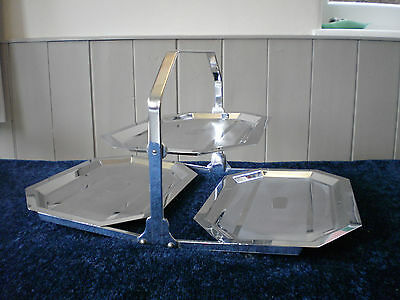 large folding art deco chrome plated cake stand unusual