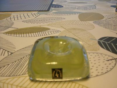 langham glass green/clear candle holder with original label 7.5cm across 2.5deep