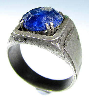 Rare Vintage / Antique Ring With Blue Stone In Bezel -Wearable - Id150