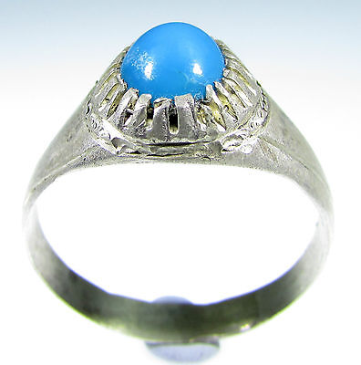 Rare Vintage / Antique Ring With Blue Stone In Bezel -Wearable - Id151