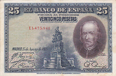 25 Pesetas Vf Crispy Banknote From 1928 Spain!pick-74