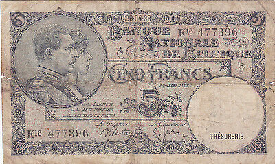 5 Francs Vg Banknote From 1938 Belgium!pick-93