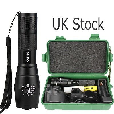 XML T6 Police Tactical Zoomable  LED Military Flashlight Torch Light Lamp UK0D4