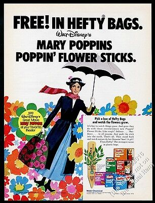 1973 Julie Andrews as Mary Poppins Hefty Bags vintage print ad