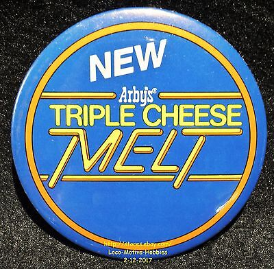 LMH PINBACK Button Pin  ARBY's Promo  TRIPLE CHEESE MELT Sandwich NEW  1990