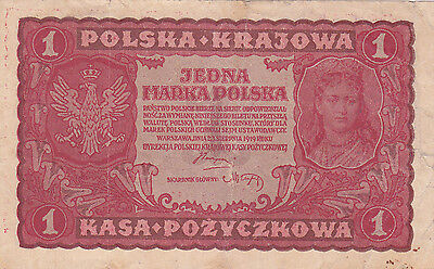 1 Marka  Fine Banknote From Poland 1919!pick-23