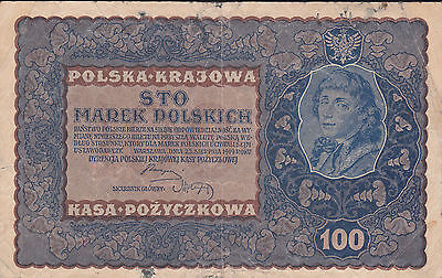 100 Marek Fine Banknote From Poland 1919!pick-27
