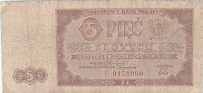 5 Zlotych Vg Banknote From Poland 1948!pick-135!