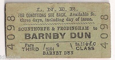 LNER Railway Ticket Scunthorpe Frodingham to Barnby Dunn