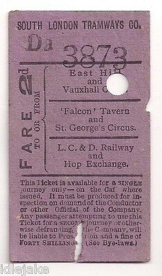 South London Tramways Co 2d Tram Ticket East Hill Hop Exchange