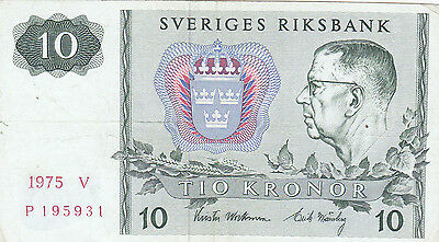 10 Kronor Vf Banknote From Sweden 1975!pick-52!