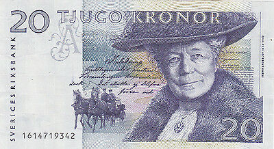 20 Kronor Vf Banknote From Sweden 1991!pick-61