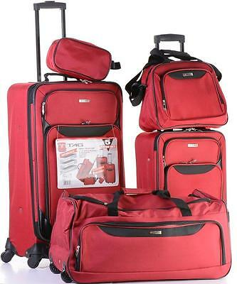 TAG SPRINGFIELD lII 5 PIECE RED LIGHTWEIGHT SPINNER LUGGAGE SET 19069505S NEW