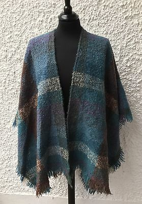 Vintage Arola of Finland Mohair & Wool Checked Wrap / Shawl