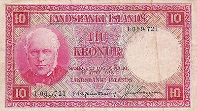 10 Kronur Very Fine Banknote From Iceland  1928!pick-33