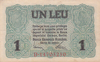 1 Leu From 1917 Romania  German Occupation!!pick-M3!!very Fine Banknote