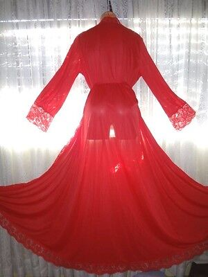 Vintage Olga Silky Red Nylon & Lace Full Sweep Robe Large