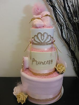 Gorgeous 3 tier 'princess' Baby Girl Nappy Cake ideal gift/baby shower